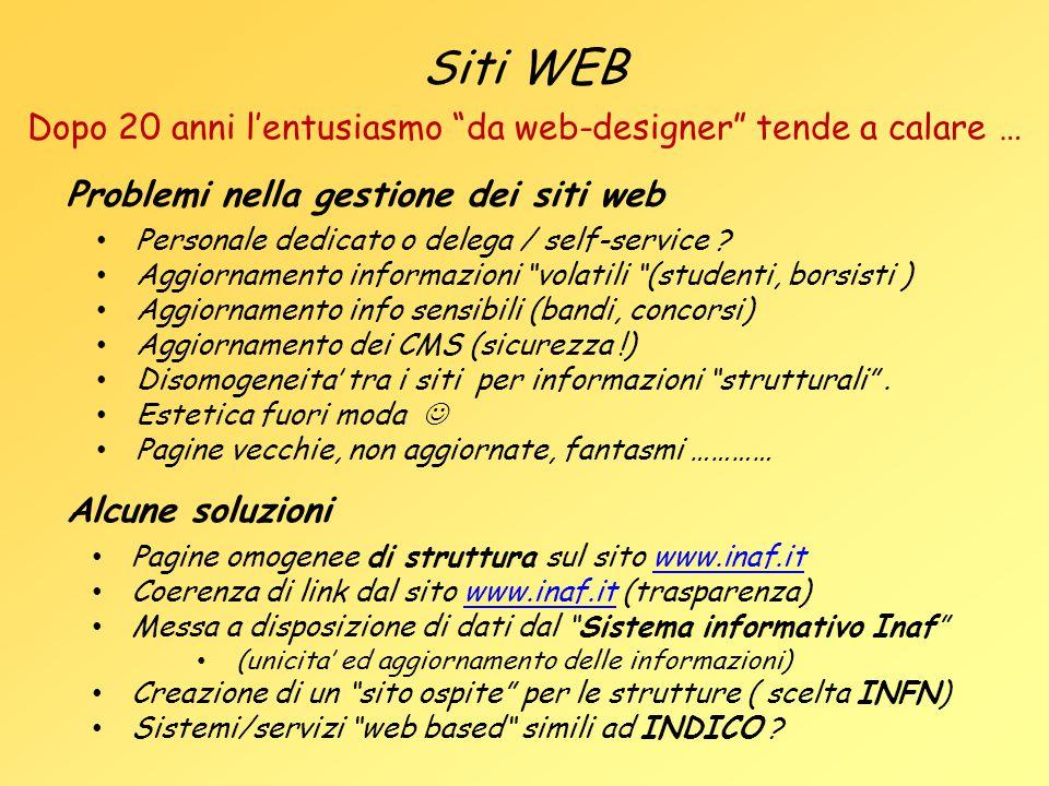 """Siti WEB Personale dedicato o delega / self-service ? Aggiornamento informazioni """"volatili """"(studenti, borsisti ) Aggiornamento info sensibili (bandi,"""