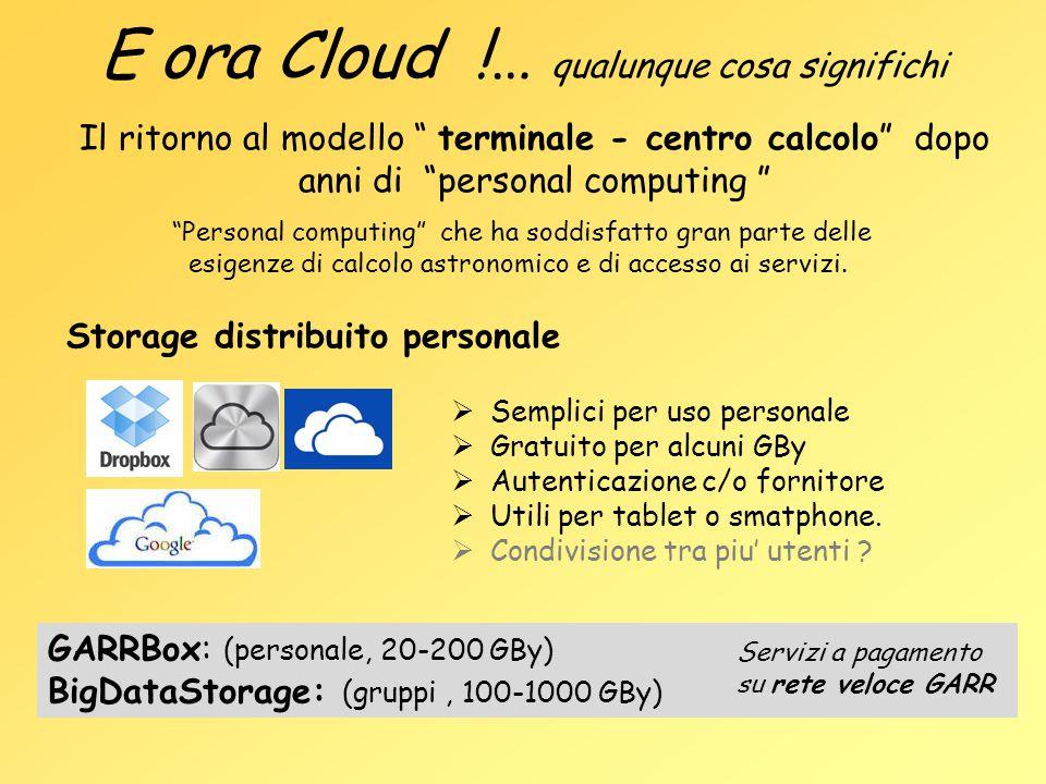 """E ora Cloud !… qualunque cosa significhi Il ritorno al modello """" terminale - centro calcolo"""" dopo anni di """"personal computing """" Storage distribuito pe"""