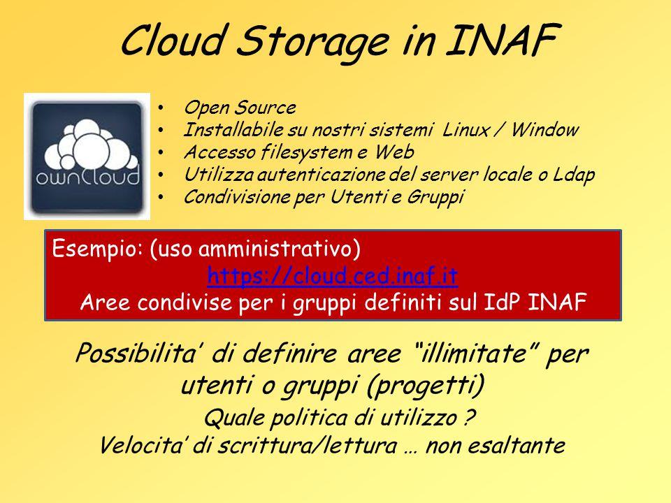 Cloud Storage in INAF Open Source Installabile su nostri sistemi Linux / Window Accesso filesystem e Web Utilizza autenticazione del server locale o L