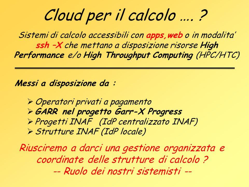 Cloud per il calcolo …. ? Sistemi di calcolo accessibili con apps,web o in modalita' ssh –X che mettano a disposizione risorse High Performance e/o Hi