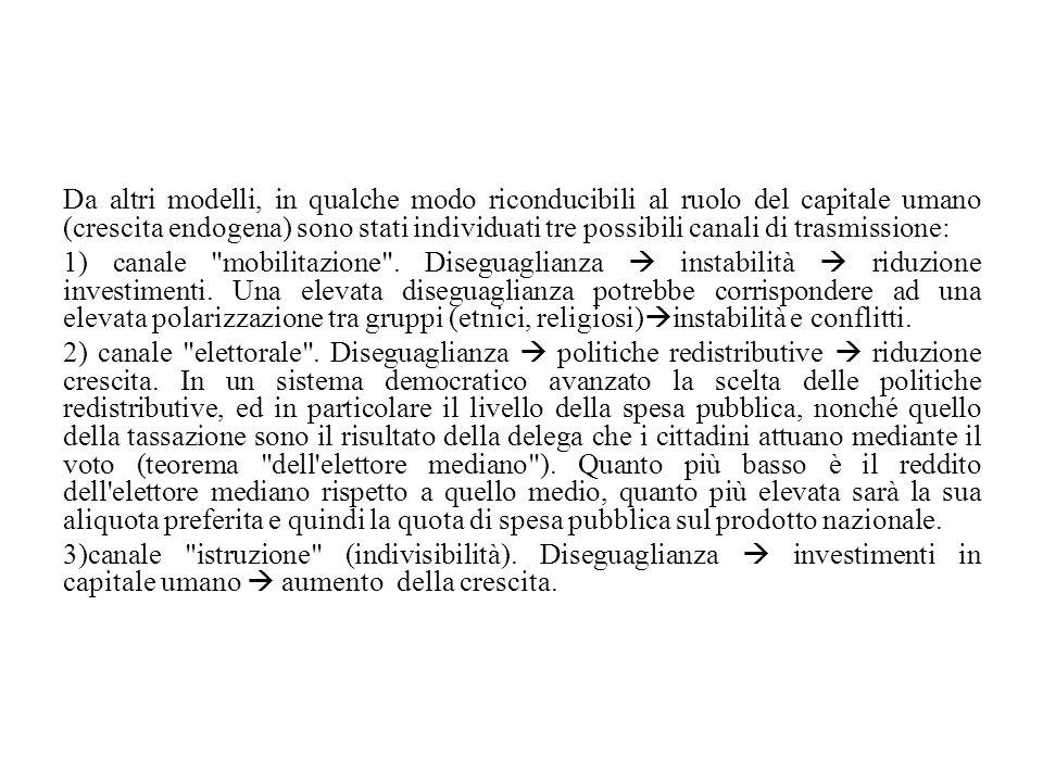 Da altri modelli, in qualche modo riconducibili al ruolo del capitale umano (crescita endogena) sono stati individuati tre possibili canali di trasmis