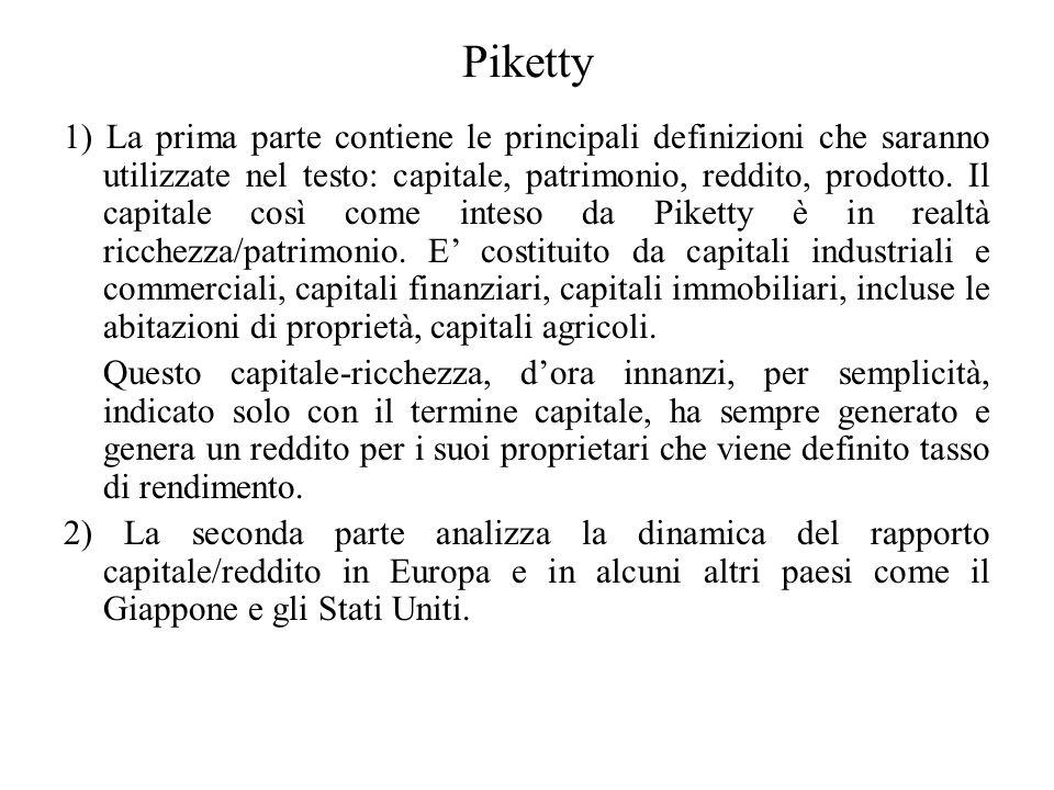 Piketty 1) La prima parte contiene le principali definizioni che saranno utilizzate nel testo: capitale, patrimonio, reddito, prodotto. Il capitale co