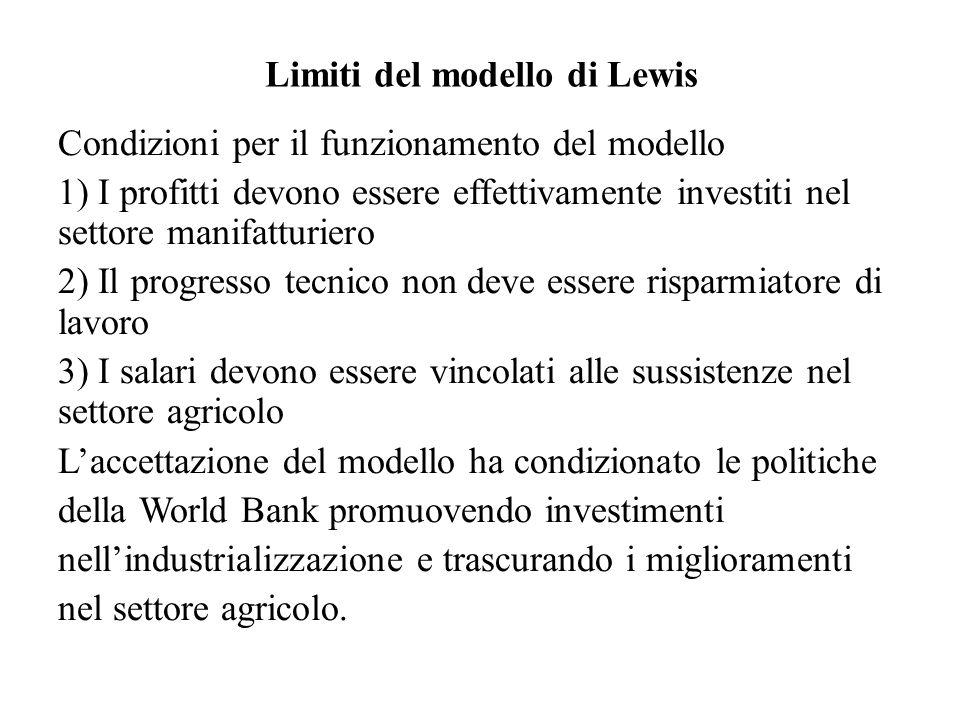 Limiti del modello di Lewis Condizioni per il funzionamento del modello 1) I profitti devono essere effettivamente investiti nel settore manifatturier