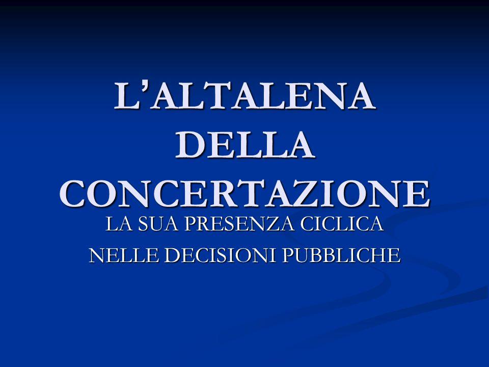 L ' ALTALENA DELLA CONCERTAZIONE LA SUA PRESENZA CICLICA NELLE DECISIONI PUBBLICHE