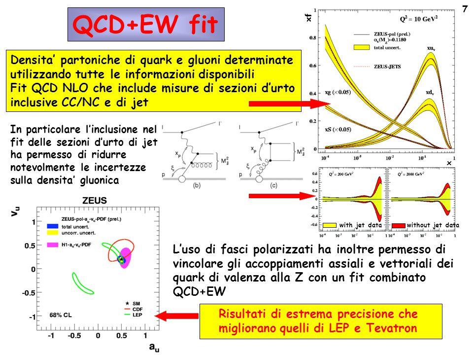 7 L'uso di fasci polarizzati ha inoltre permesso di vincolare gli accoppiamenti assiali e vettoriali dei quark di valenza alla Z con un fit combinato QCD+EW Risultati di estrema precisione che migliorano quelli di LEP e Tevatron QCD+EW fit xf x Densita' partoniche di quark e gluoni determinate utilizzando tutte le informazioni disponibili Fit QCD NLO che include misure di sezioni d'urto inclusive CC/NC e di jet In particolare l'inclusione nel fit delle sezioni d'urto di jet ha permesso di ridurre notevolmente le incertezze sulla densita' gluonica with jet data without jet data