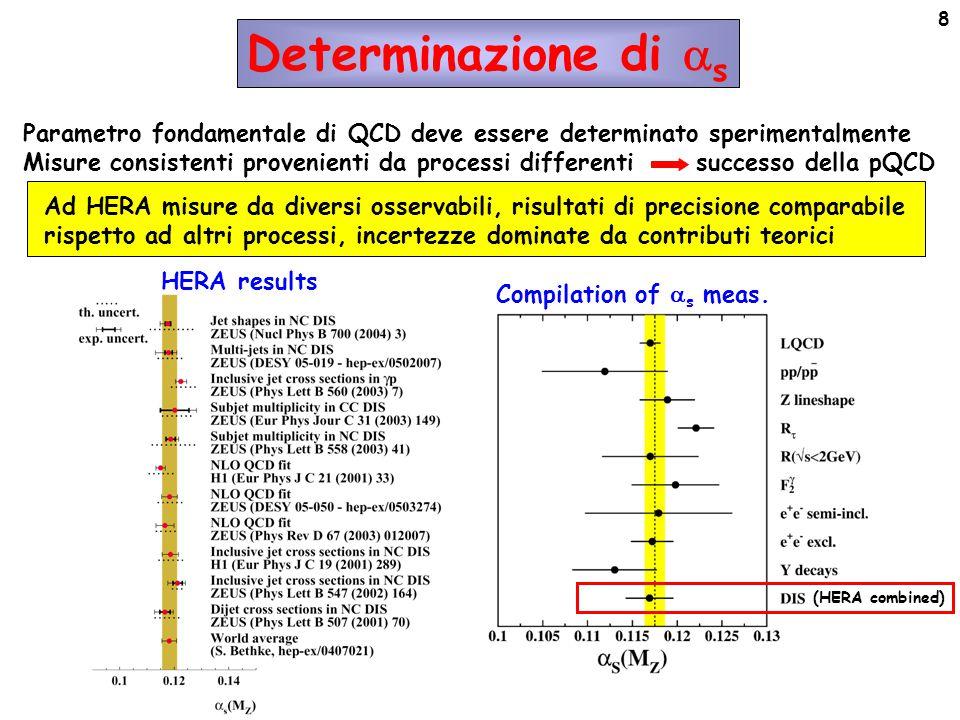 8 Parametro fondamentale di QCD deve essere determinato sperimentalmente Misure consistenti provenienti da processi differenti successo della pQCD Ad HERA misure da diversi osservabili, risultati di precisione comparabile rispetto ad altri processi, incertezze dominate da contributi teorici Determinazione di  s HERA results (HERA combined) Compilation of  s meas.