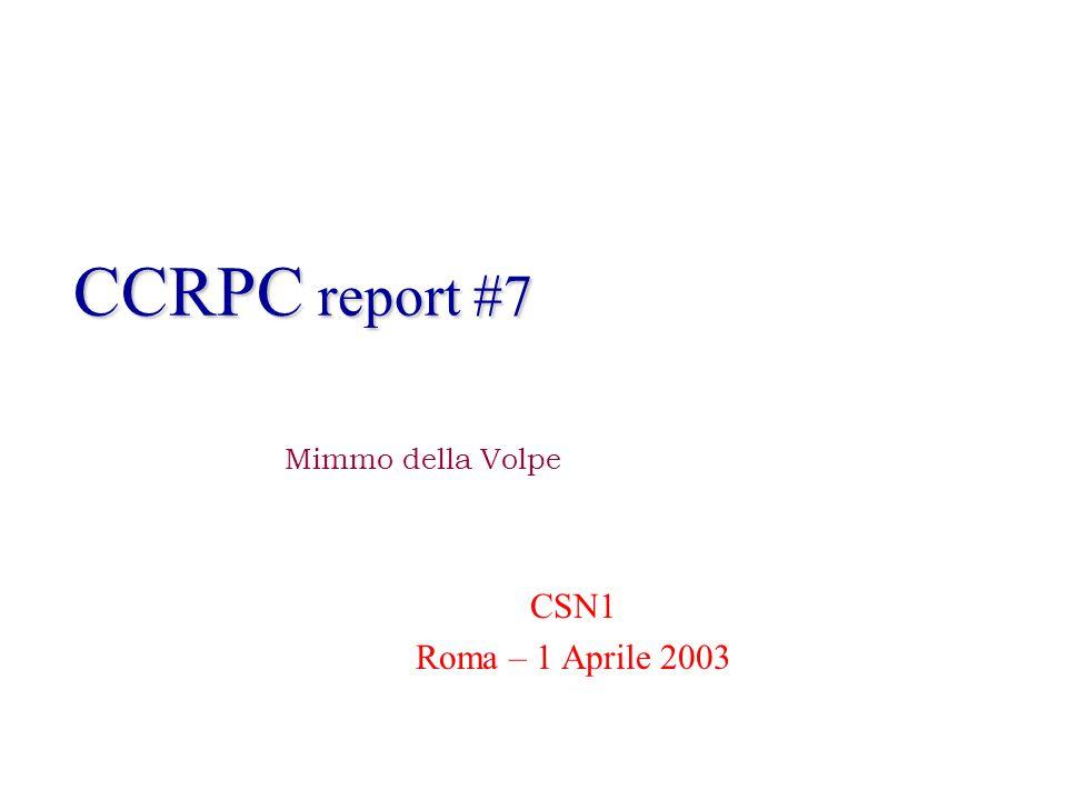 CCRPC report #7 CSN1 Roma – 1 Aprile 2003 Mimmo della Volpe