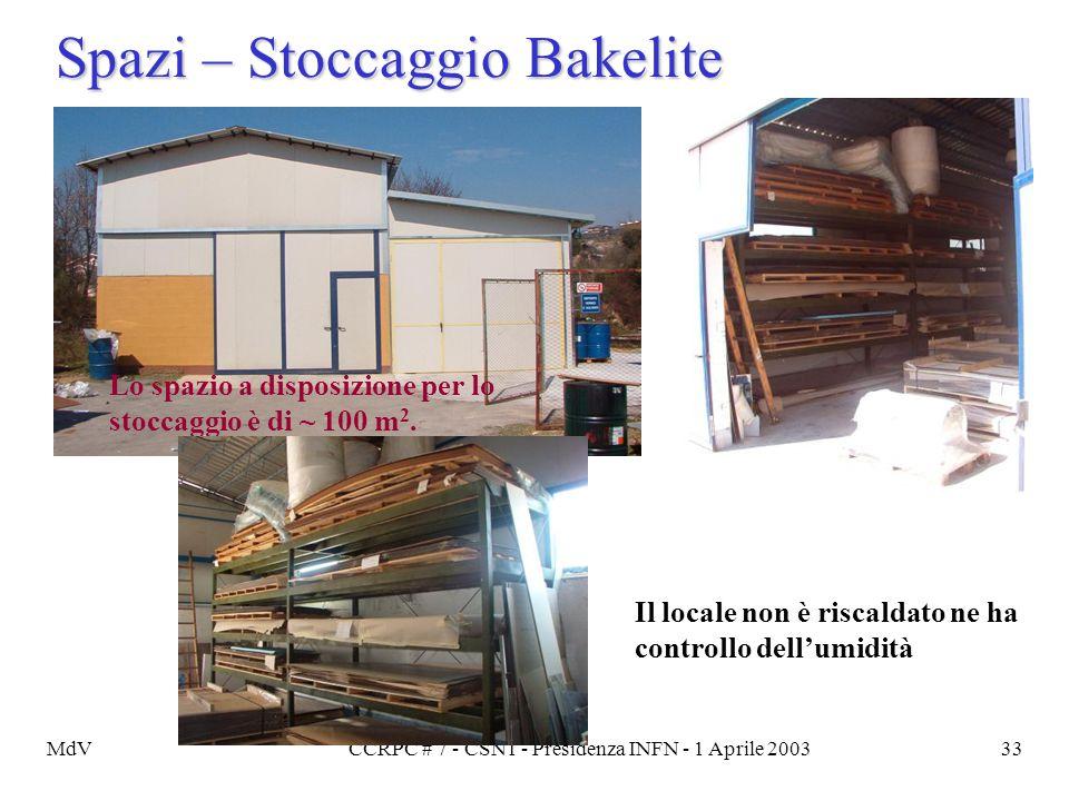 MdVCCRPC # 7 - CSN1 - Presidenza INFN - 1 Aprile 200333 Spazi – Stoccaggio Bakelite Lo spazio a disposizione per lo stoccaggio è di ~ 100 m 2. Il loca