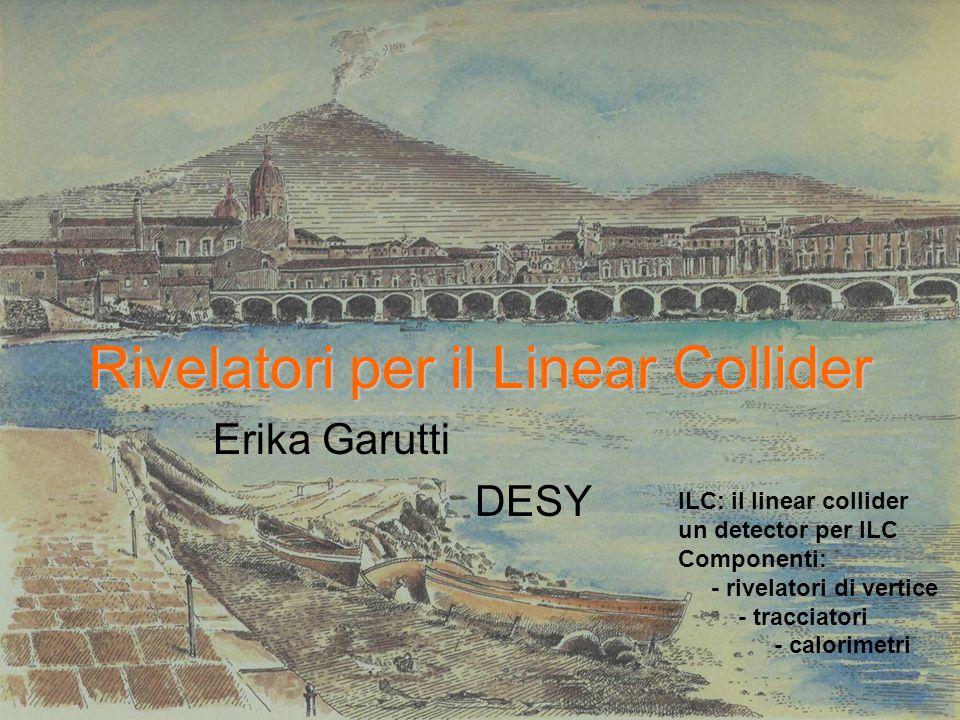 Rivelatori per il Linear Collider Erika Garutti DESY ILC: il linear collider un detector per ILC Componenti: - rivelatori di vertice - tracciatori - calorimetri