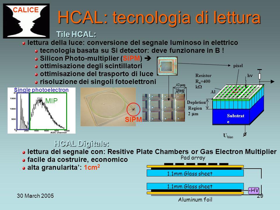 30 March 200529 Tile HCAL: Tile HCAL: lettura della luce: conversione del segnale luminoso in elettrico tecnologia basata su Si detector: deve funzionare in B .