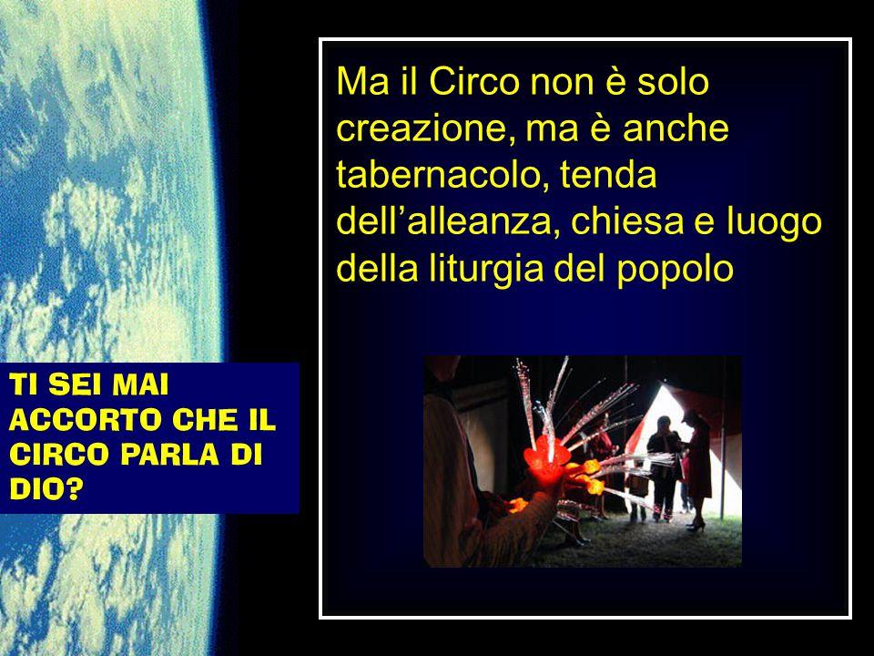 TI SEI MAI ACCORTO CHE IL CIRCO PARLA DI DIO? Ma il Circo non è solo creazione, ma è anche tabernacolo, tenda dell'alleanza, chiesa e luogo della litu
