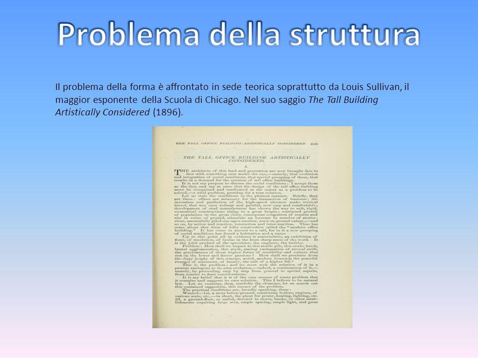 Il problema della forma è affrontato in sede teorica soprattutto da Louis Sullivan, il maggior esponente della Scuola di Chicago. Nel suo saggio The T