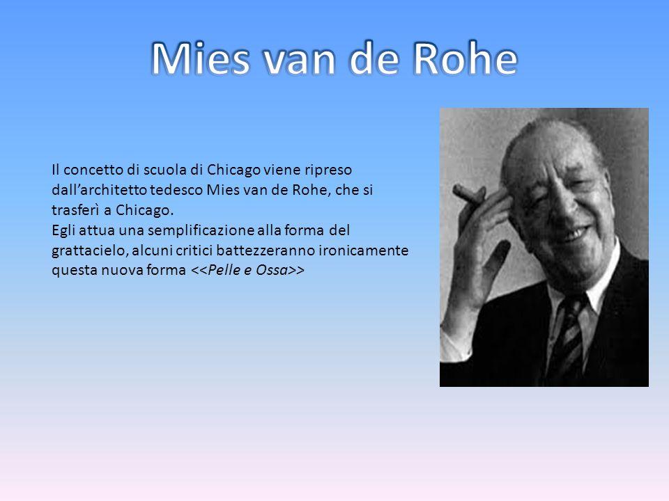 Il concetto di scuola di Chicago viene ripreso dall'architetto tedesco Mies van de Rohe, che si trasferì a Chicago. Egli attua una semplificazione all