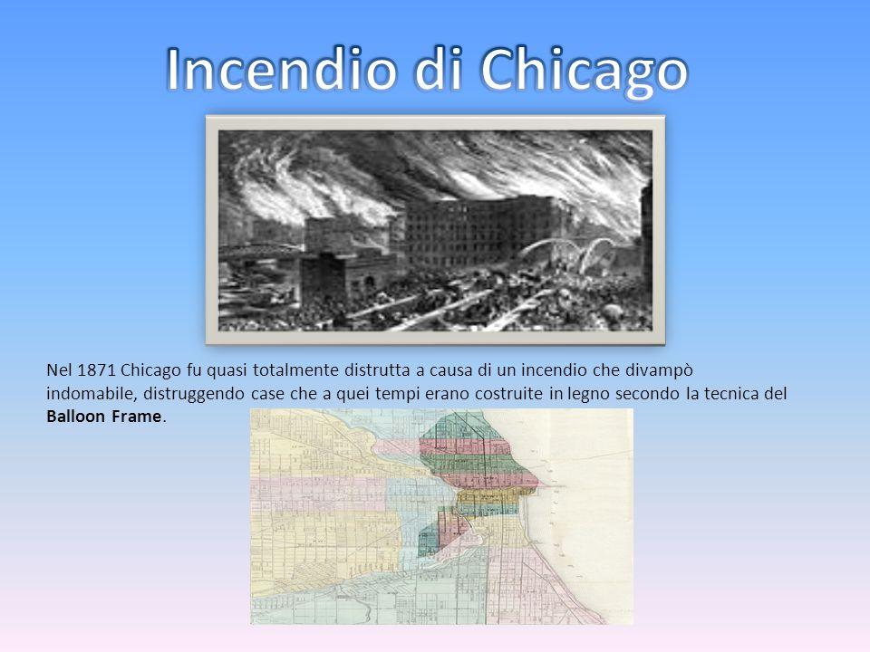 Nel 1871 Chicago fu quasi totalmente distrutta a causa di un incendio che divampò indomabile, distruggendo case che a quei tempi erano costruite in le
