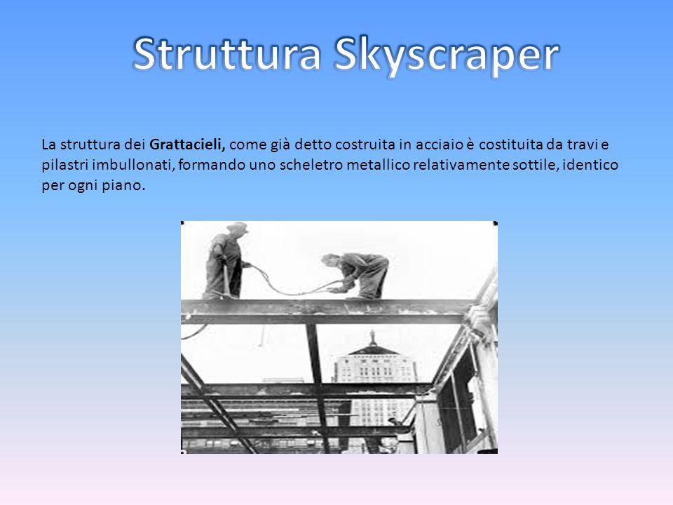La struttura dei Grattacieli, come già detto costruita in acciaio è costituita da travi e pilastri imbullonati, formando uno scheletro metallico relat