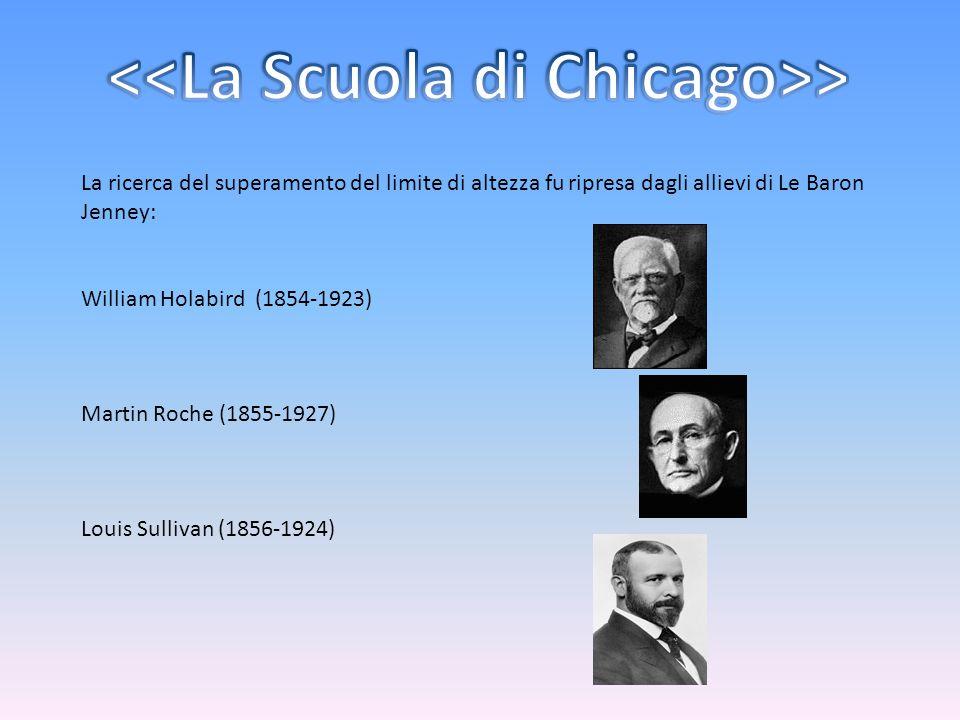 La ricerca del superamento del limite di altezza fu ripresa dagli allievi di Le Baron Jenney: William Holabird (1854-1923) Martin Roche (1855-1927) Lo