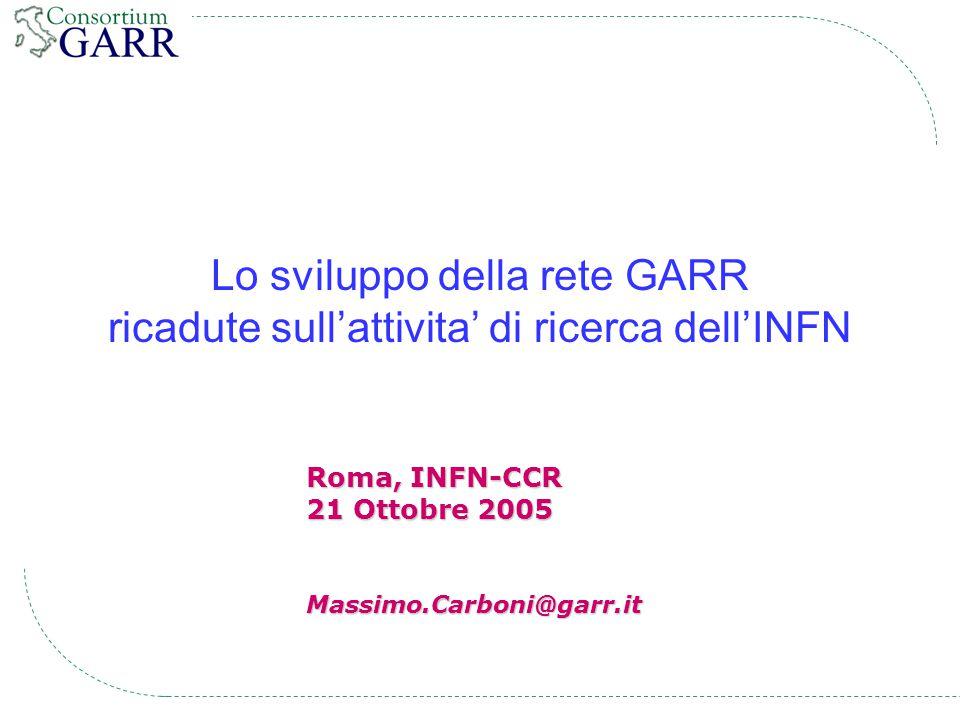 12 [INFN-CCR, Roma, 21 Ottobre 2005] # GARR-G * Current map * December 2004 * July 2004 * May 2004 * March 2004 * May 2003 # GARR-B * December 2002 * December 2001 * September 2001 * April 2000 * May 1999 * April 1999 * January 1999 # GARR-2 # GARR-1