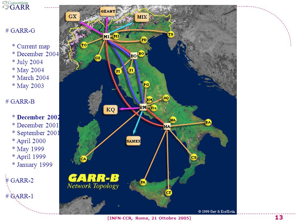 13 [INFN-CCR, Roma, 21 Ottobre 2005] # GARR-G * Current map * December 2004 * July 2004 * May 2004 * March 2004 * May 2003 # GARR-B * December 2002 * December 2001 * September 2001 * April 2000 * May 1999 * April 1999 * January 1999 # GARR-2 # GARR-1