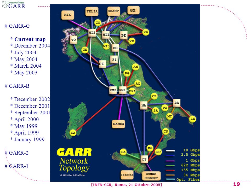19 [INFN-CCR, Roma, 21 Ottobre 2005] # GARR-G * Current map * December 2004 * July 2004 * May 2004 * March 2004 * May 2003 # GARR-B * December 2002 * December 2001 * September 2001 * April 2000 * May 1999 * April 1999 * January 1999 # GARR-2 # GARR-1