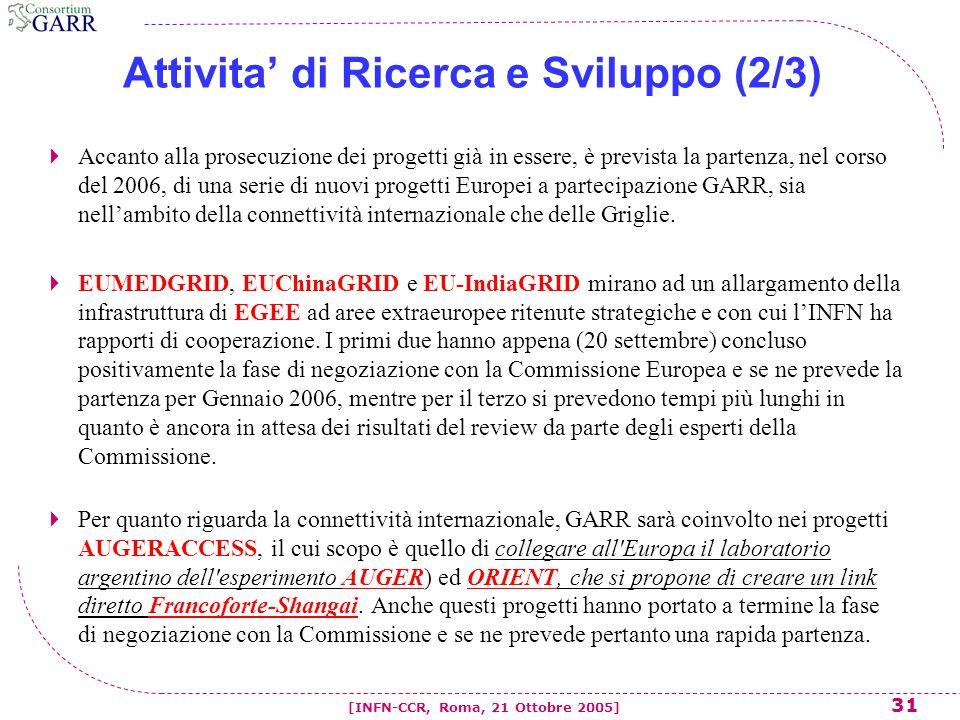 31 [INFN-CCR, Roma, 21 Ottobre 2005] Attivita' di Ricerca e Sviluppo (2/3)  Accanto alla prosecuzione dei progetti già in essere, è prevista la partenza, nel corso del 2006, di una serie di nuovi progetti Europei a partecipazione GARR, sia nell'ambito della connettività internazionale che delle Griglie.