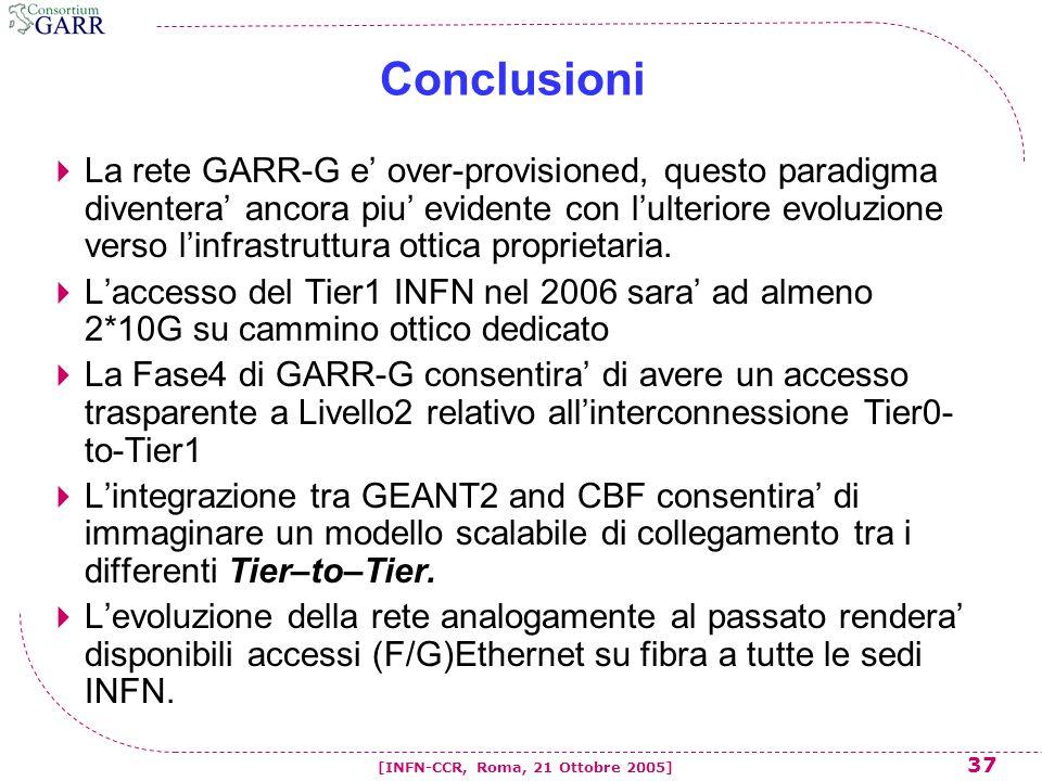 37 [INFN-CCR, Roma, 21 Ottobre 2005] Conclusioni  La rete GARR-G e' over-provisioned, questo paradigma diventera' ancora piu' evidente con l'ulterior