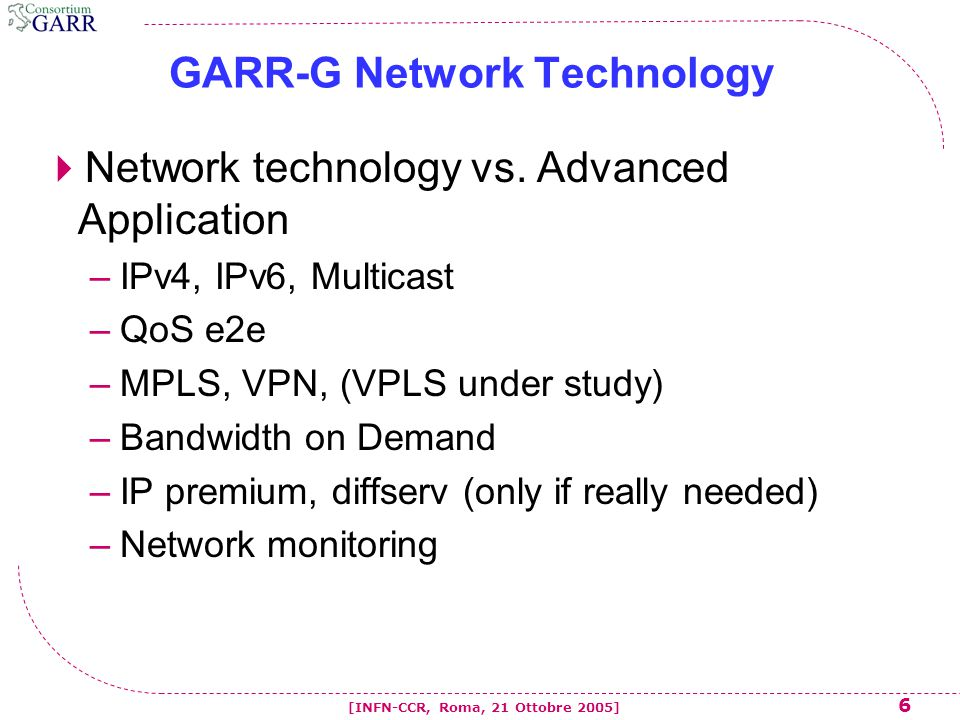 6 [INFN-CCR, Roma, 21 Ottobre 2005] GARR-G Network Technology  Network technology vs.