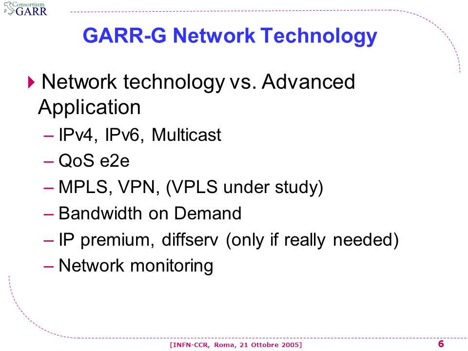 37 [INFN-CCR, Roma, 21 Ottobre 2005] Conclusioni  La rete GARR-G e' over-provisioned, questo paradigma diventera' ancora piu' evidente con l'ulteriore evoluzione verso l'infrastruttura ottica proprietaria.