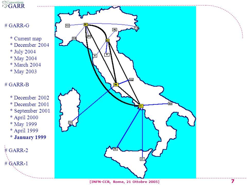 8 [INFN-CCR, Roma, 21 Ottobre 2005] # GARR-G * Current map * December 2004 * July 2004 * May 2004 * March 2004 * May 2003 # GARR-B * December 2002 * December 2001 * September 2001 * April 2000 * May 1999 * April 1999 * January 1999 # GARR-2 # GARR-1