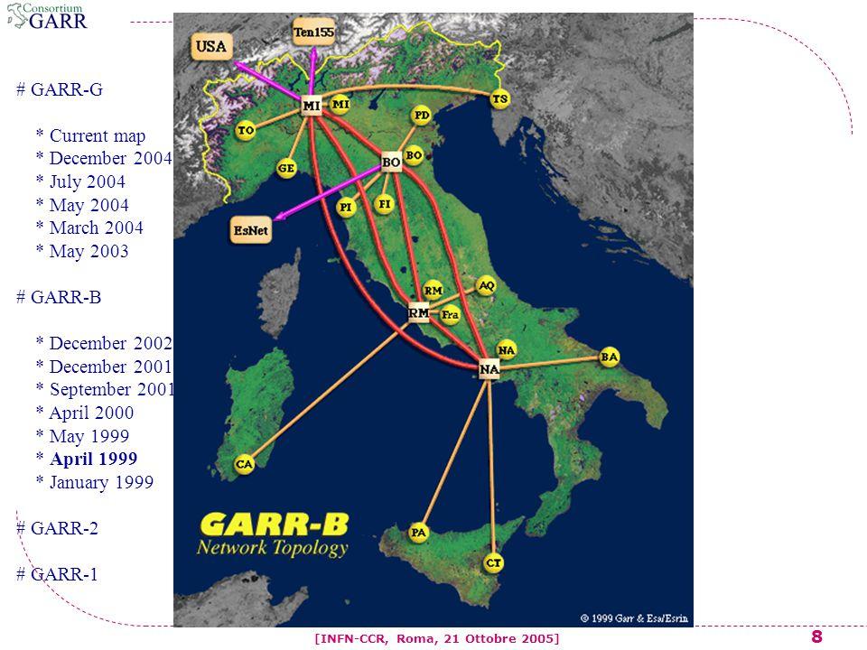 9 [INFN-CCR, Roma, 21 Ottobre 2005] # GARR-G * Current map * December 2004 * July 2004 * May 2004 * March 2004 * May 2003 # GARR-B * December 2002 * December 2001 * September 2001 * April 2000 * May 1999 * April 1999 * January 1999 # GARR-2 # GARR-1