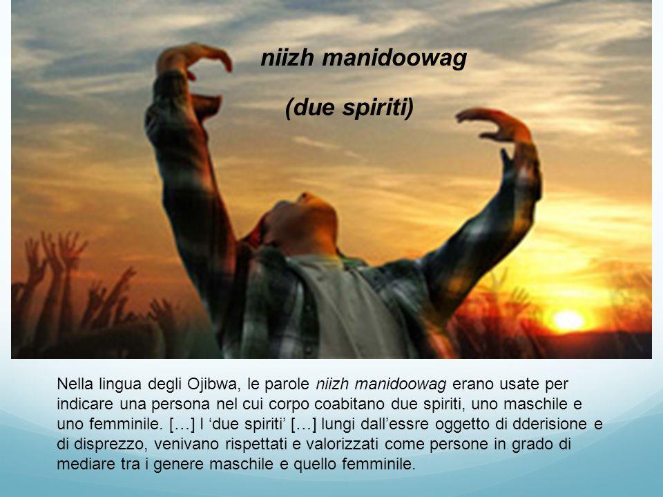 niizh manidoowag (due spiriti) Nella lingua degli Ojibwa, le parole niizh manidoowag erano usate per indicare una persona nel cui corpo coabitano due spiriti, uno maschile e uno femminile.