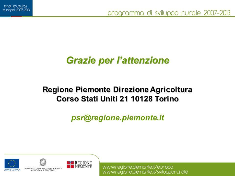 Grazie per l'attenzione Regione Piemonte Direzione Agricoltura Corso Stati Uniti 21 10128 Torino psr@regione.piemonte.it