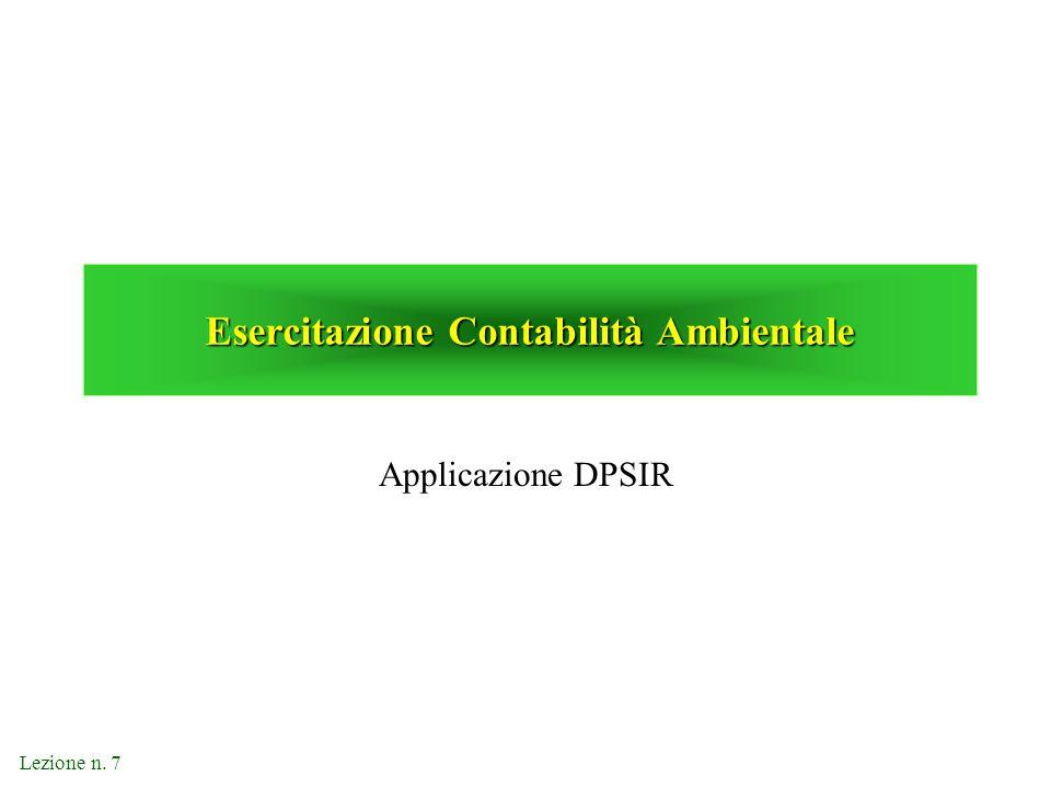 Lezione n. 7 Esercitazione Contabilità Ambientale Applicazione DPSIR
