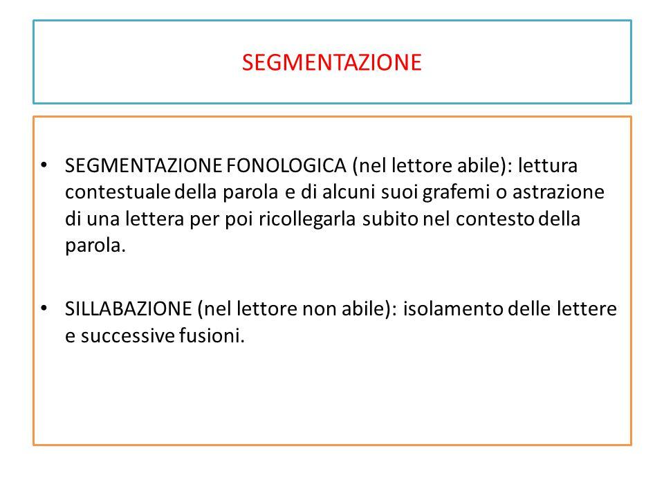 SEGMENTAZIONE SEGMENTAZIONE FONOLOGICA (nel lettore abile): lettura contestuale della parola e di alcuni suoi grafemi o astrazione di una lettera per poi ricollegarla subito nel contesto della parola.