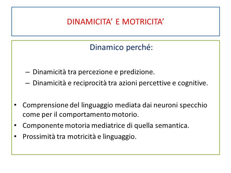 DINAMICITA' E MOTRICITA' Dinamico perché: – Dinamicità tra percezione e predizione.