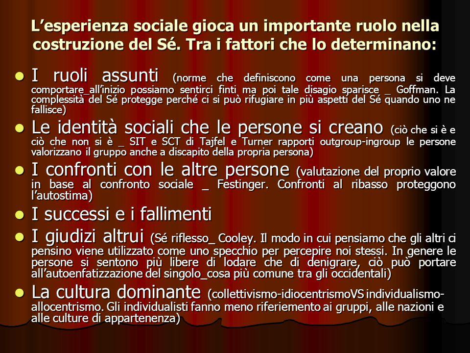 L'esperienza sociale gioca un importante ruolo nella costruzione del Sé. Tra i fattori che lo determinano: I ruoli assunti (norme che definiscono come