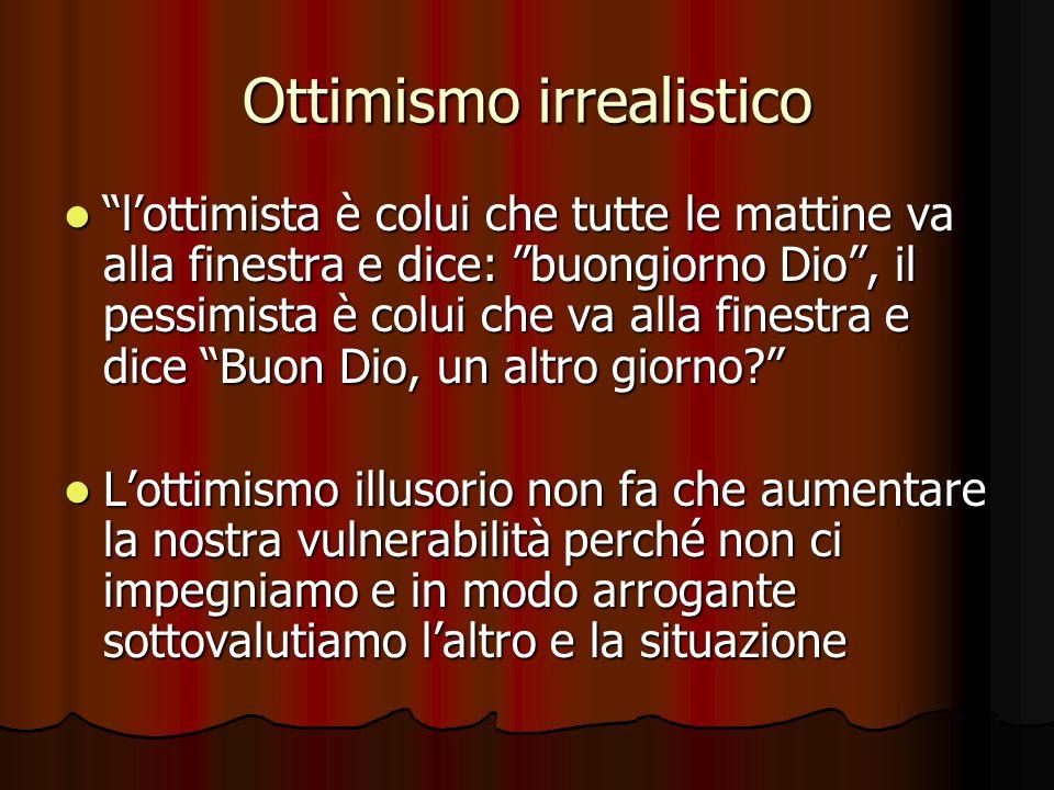 """Ottimismo irrealistico """"l'ottimista è colui che tutte le mattine va alla finestra e dice: """"buongiorno Dio"""", il pessimista è colui che va alla finestra"""
