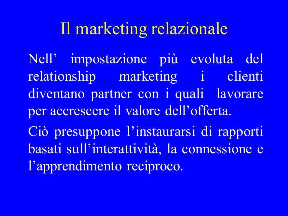 Marketing tradizionale Marketing relazionale Comunicazione Di massa Ad una via imposta dall'offerta Personalizzata A due vie Interattiva e trainata dalla domanda