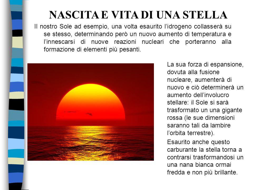 Il nostro Sole ad esempio, una volta esaurito l'idrogeno collasserà su se stesso, determinando però un nuovo aumento di temperatura e l'innescarsi di