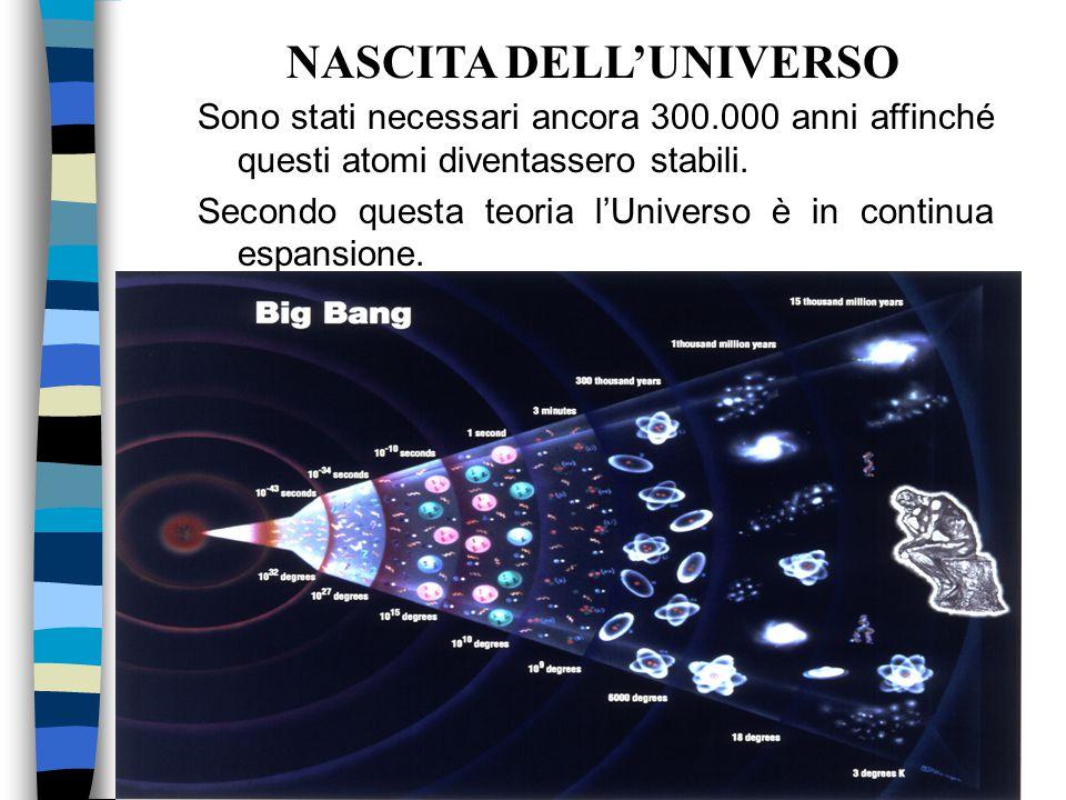 Sono stati necessari ancora 300.000 anni affinché questi atomi diventassero stabili. Secondo questa teoria l'Universo è in continua espansione. NASCIT