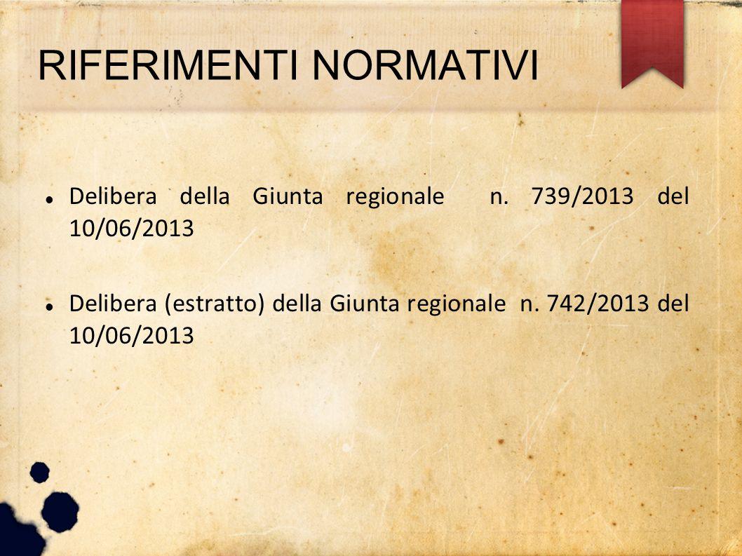 RIFERIMENTI NORMATIVI Delibera della Giunta regionale n. 739/2013 del 10/06/2013 Delibera (estratto) della Giunta regionale n. 742/2013 del 10/06/2013