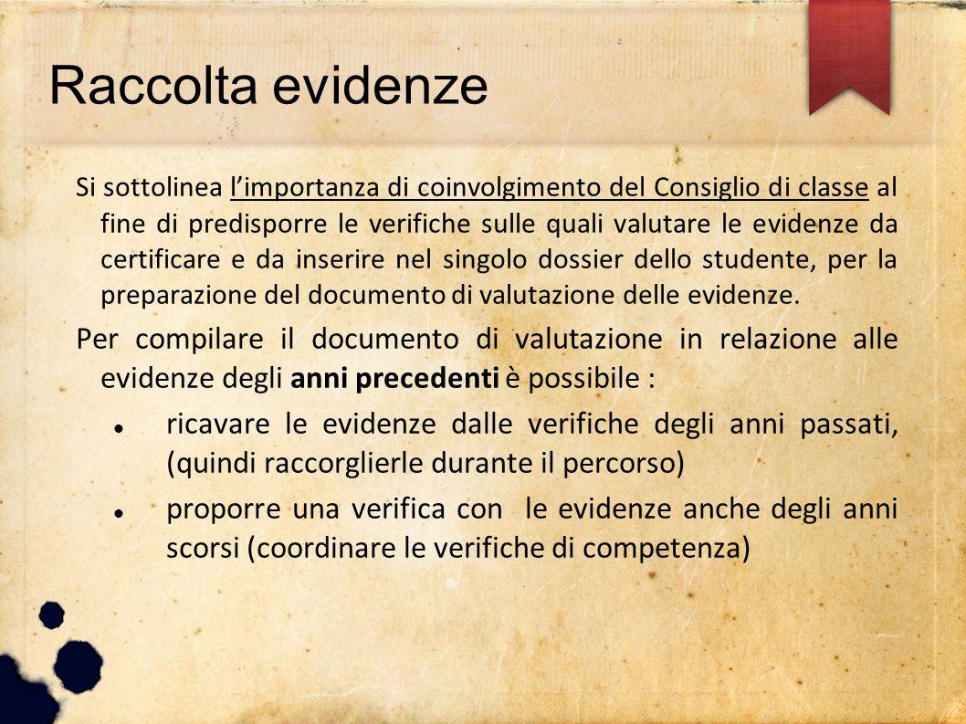 Raccolta evidenze Si sottolinea l'importanza di coinvolgimento del Consiglio di classe al fine di predisporre le verifiche sulle quali valutare le evi