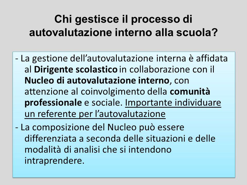 - La gestione dell'autovalutazione interna è affidata al Dirigente scolastico in collaborazione con il Nucleo di autovalutazione interno, con attenzio