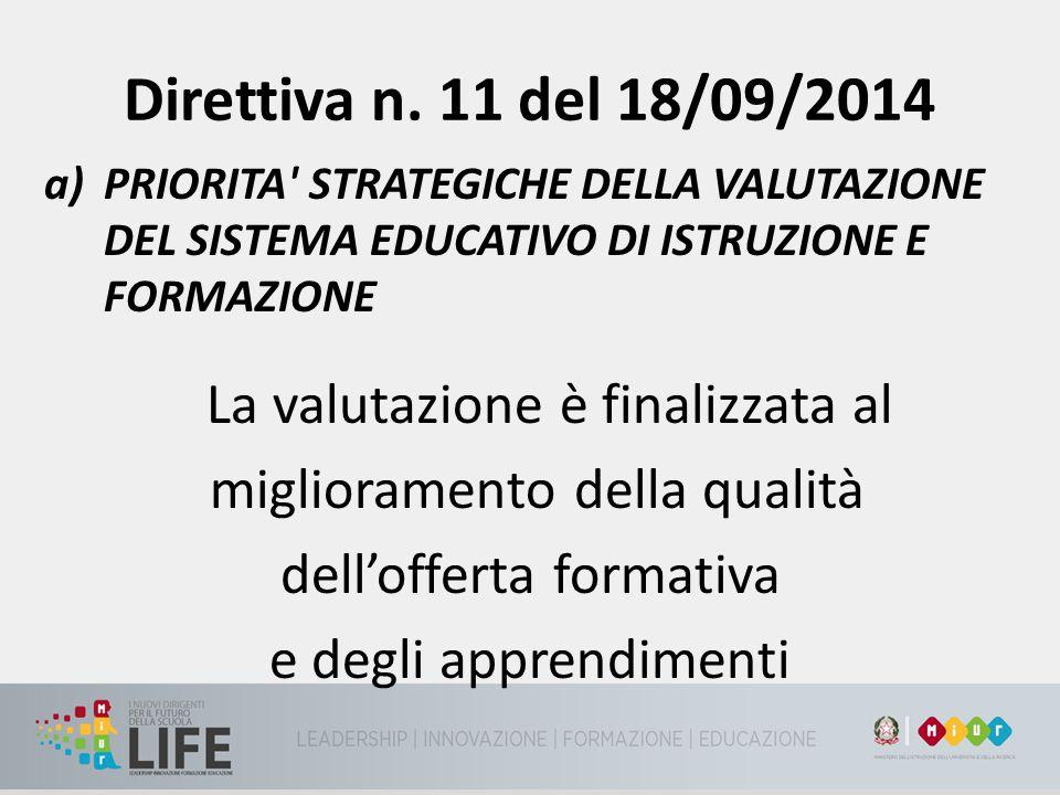 Direttiva n. 11 del 18/09/2014 a)PRIORITA' STRATEGICHE DELLA VALUTAZIONE DEL SISTEMA EDUCATIVO DI ISTRUZIONE E FORMAZIONE La valutazione è finalizzata
