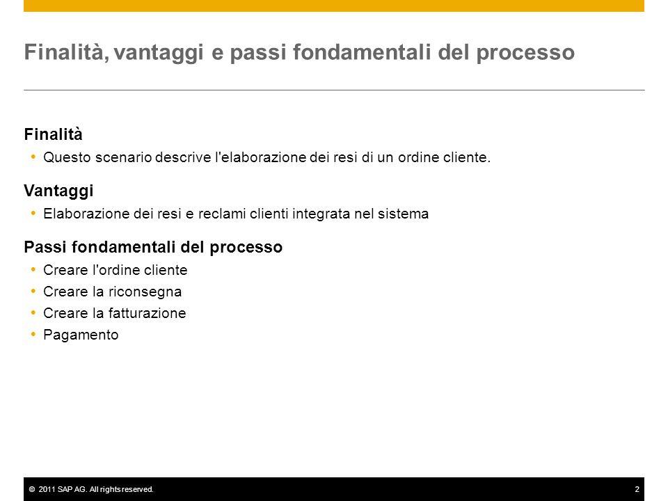 ©2011 SAP AG. All rights reserved.2 Finalità, vantaggi e passi fondamentali del processo Finalità  Questo scenario descrive l'elaborazione dei resi d