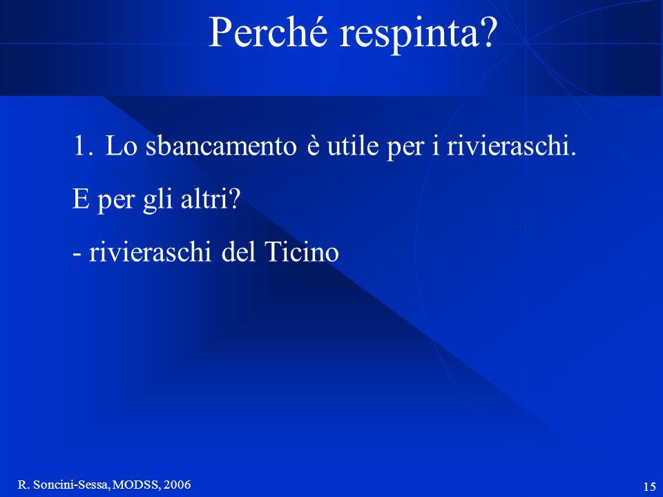 R. Soncini-Sessa, MODSS, 2006 15 Perché respinta? 1.Lo sbancamento è utile per i rivieraschi. E per gli altri? - rivieraschi del Ticino