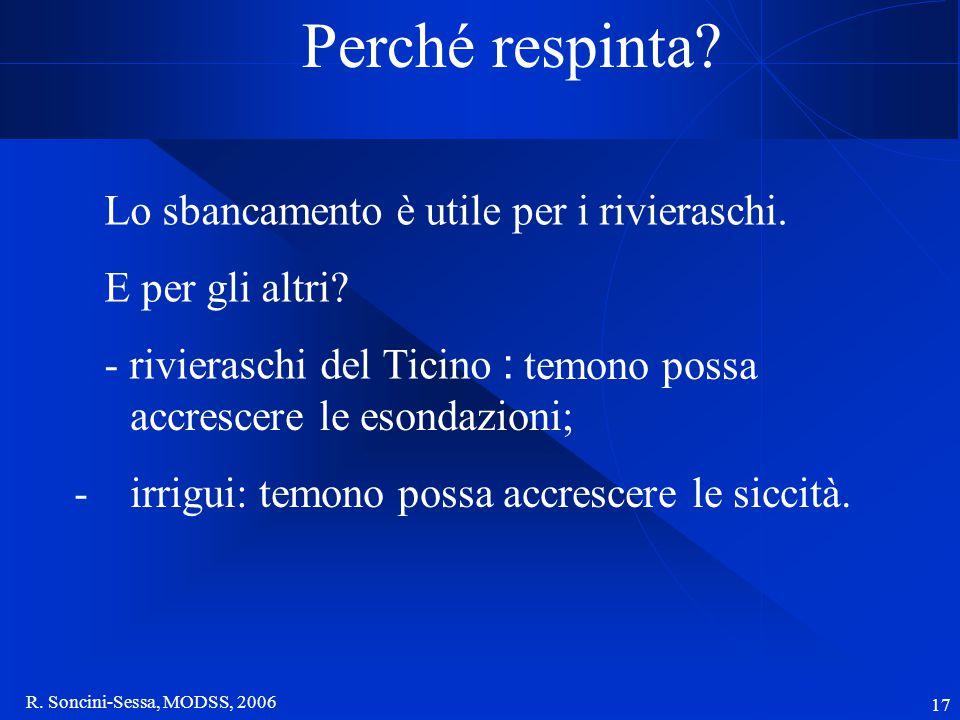 R. Soncini-Sessa, MODSS, 2006 17 Perché respinta? Lo sbancamento è utile per i rivieraschi. E per gli altri? - rivieraschi del Ticino : temono possa a