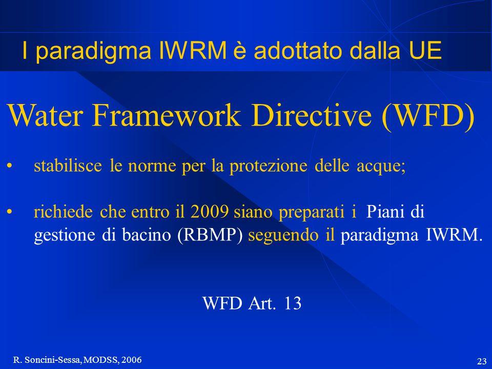 R. Soncini-Sessa, MODSS, 2006 23 I paradigma IWRM è adottato dalla UE Water Framework Directive (WFD) stabilisce le norme per la protezione delle acqu