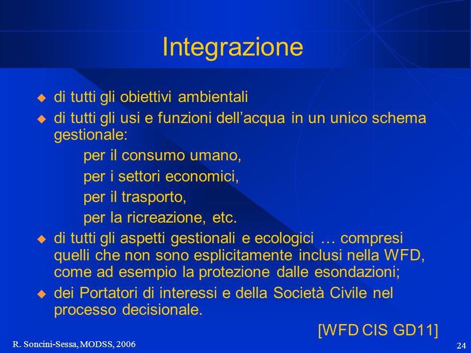 R. Soncini-Sessa, MODSS, 2006 24 Integrazione  di tutti gli obiettivi ambientali  di tutti gli usi e funzioni dell'acqua in un unico schema gestiona