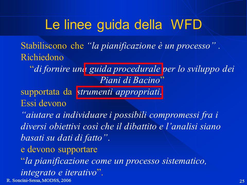 """R. Soncini-Sessa, MODSS, 2006 25 Le linee guida della WFD Stabiliscono che """"la pianificazione è un processo"""". Richiedono """"di fornire una guida procedu"""