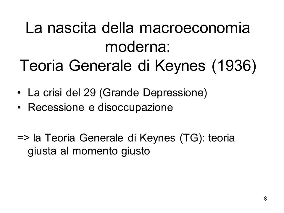 8 La nascita della macroeconomia moderna: Teoria Generale di Keynes (1936) La crisi del 29 (Grande Depressione) Recessione e disoccupazione => la Teoria Generale di Keynes (TG): teoria giusta al momento giusto